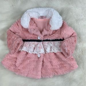 Toddler Faux Pink Fur Lace Jacket with Pockets